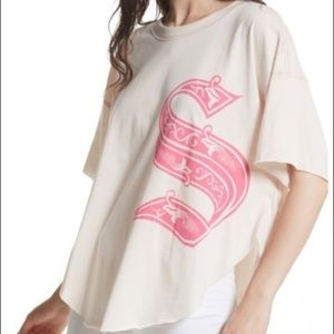 New Free People Pink S Letter Graphic T Shirt